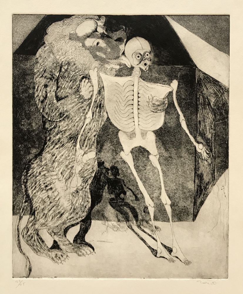 Etching Toledo - Lion Licking Skeleton