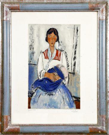 Aquatint Modigliani - L'Italienne (Gitane avec bébé. 1919). Gravé par Jacques Villon (Bernheim 1927)