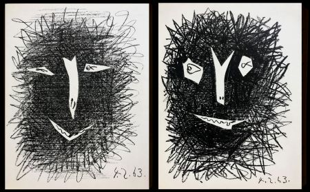 Lithograph Picasso -  lithograph IV TWO PIECES