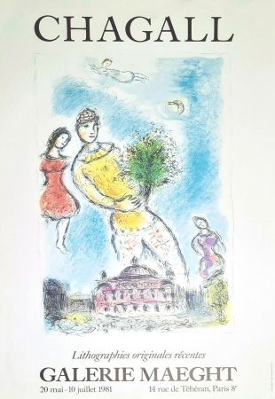 Poster Chagall - '' Lithographies Originales Récentes ''