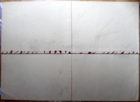 Lithograph Tàpies - Litografía Doblada en Rojo y Gris