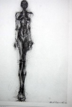 Lithograph Giacometti - Litografia Original Derrier Le Miroir - 1971