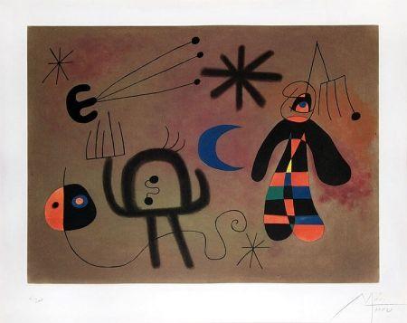 Aquatint Miró - L'Oiseau-fusée vise la fourche glissant en cascade vers le point noir (The Rocket-Bird Aims for the Fork Cascading Down Toward the Black Point), 1952