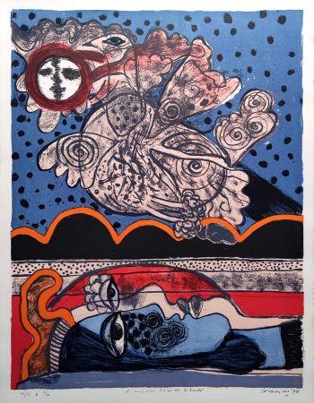Lithograph Corneille - L'oiseau îvre de liberté