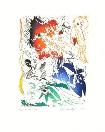 Aquatint Pedersen - L'oiseau bleu