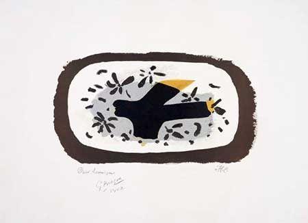 Lithograph Braque - L'oiseau D'octobre