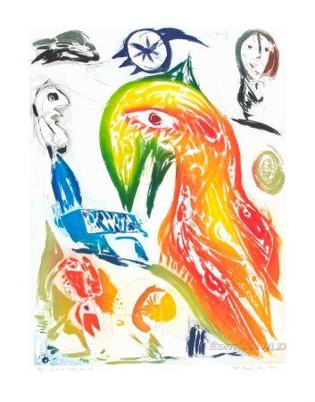 Etching And Aquatint Pedersen - L'Oiseau et l'étoile filante