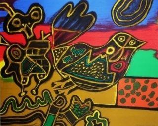 Lithograph Corneille - L'oiseau né du Paysage II
