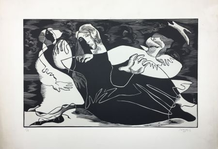 Woodcut Survage - L'Oiseau (ou Femmes de pêcheurs). Paris 1933