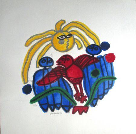 Lithograph Corneille - L'oiseau rouge
