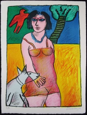 Lithograph Corneille - L'Oiseau Rouge et le Chien