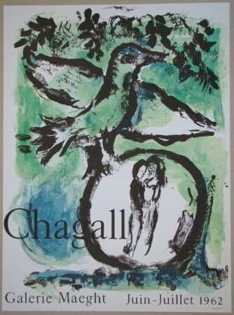 Lithograph Chagall - L'oiseau vert