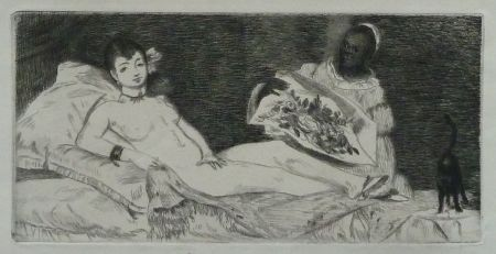 Etching Manet -  	L`Olympia