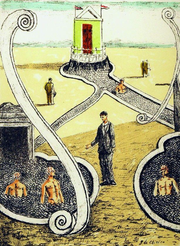 Lithograph De Chirico - L'ospite dei bagnanti misteriosi