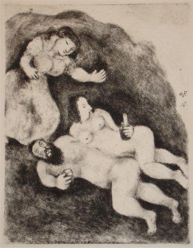 Etching And Aquatint Chagall - `Lot et ses Filles