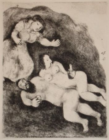 Etching And Aquatint Chagall - `Lot et ses Filles