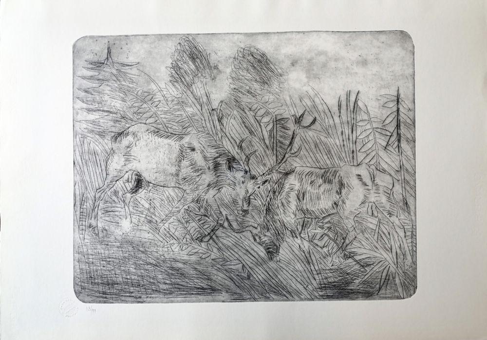 Drypoint Ligabue - Lotta fra cervi