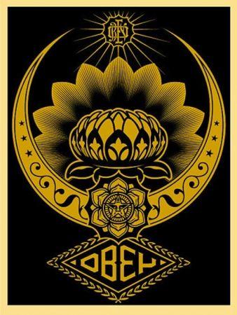 Screenprint Fairey - Lotus Ornament Gold
