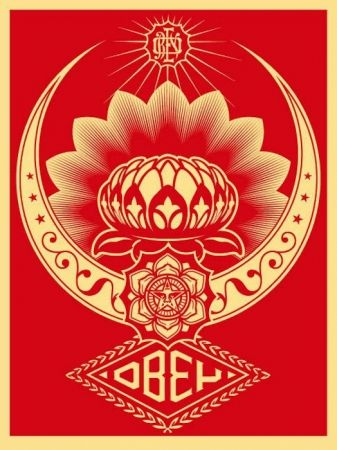 Screenprint Fairey - Lotus Ornament Red