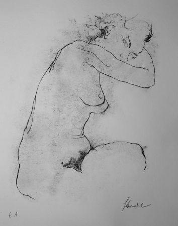 Lithograph Bonabel - Louis-Ferdinand Céline - Litographie Originale / Original Lithograph - Autoportrait / Self-Portrait - Nu Feminin / Male Nude - 1945
