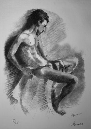 Lithograph Bonabel - Louis-Ferdinand Céline - NU MASCULIN / MALE NUDE - 1938