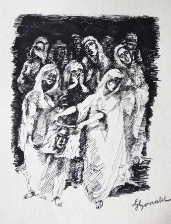 Etching Bonabel - Louis-Ferdinand Céline / Lucette Almansor - Gravure Originale - Répétion ballet en costume