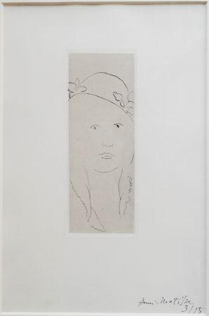 Etching Matisse - Loulou au chapeau fleuri