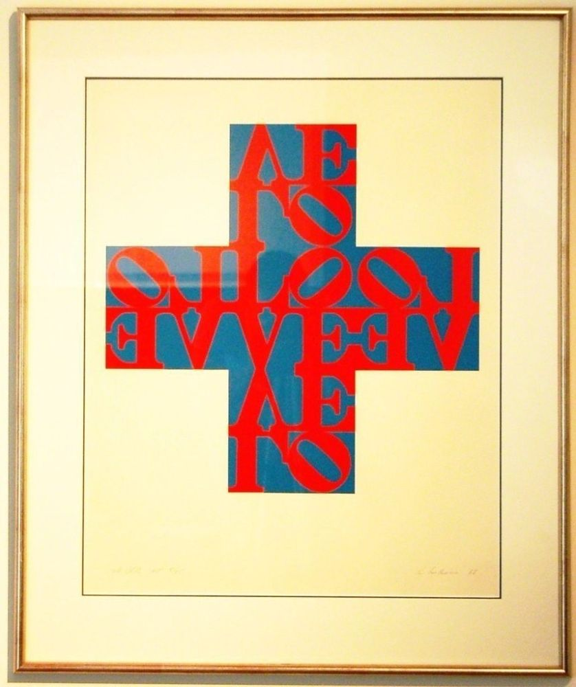 Lithograph Indiana - Love Cross