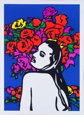 Lithograph Pusenkoff - Love & flowers