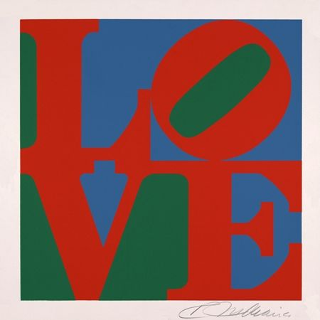 Screenprint Indiana - Love vert rouge