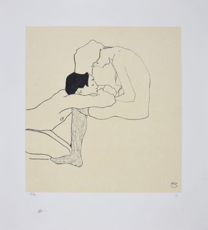Lithograph Schiele - LOVERS 1909