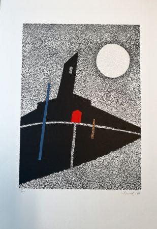 Woodcut Spacal - Luna sul monastero