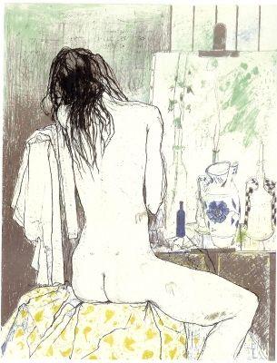 Lithograph Jansem - Lydia de dos dans l'atelier