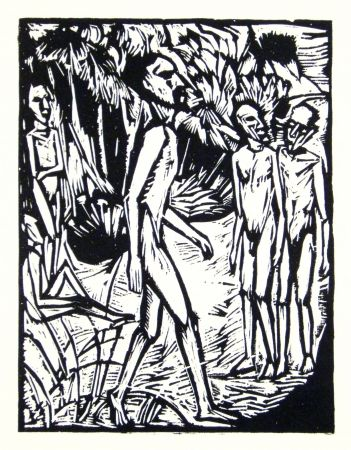 Woodcut Heckel - Männer am Strand (Men at the beach)