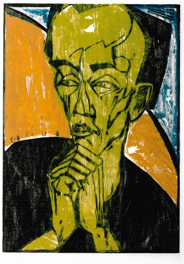 Woodcut Heckel - Männerbildnis / Self-Portrait