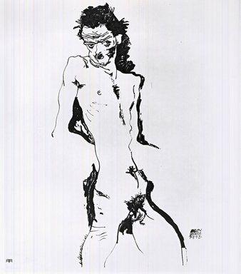 Lithograph Schiele - Männlicher Akt