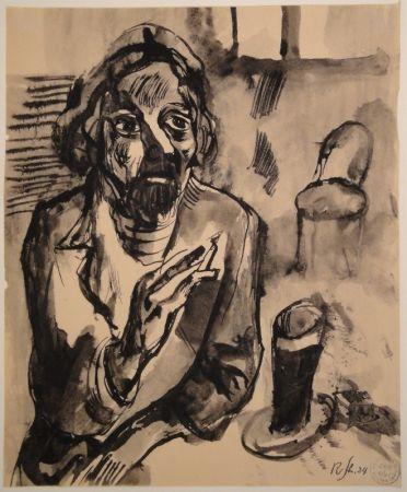 No Technical Schürch - Männliches Porträt (Selbstporträt) mit Glas und Stuhl