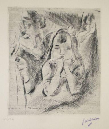 Drypoint Pascin - Mère et fille