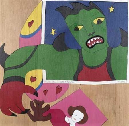 Screenprint De Saint Phalle -  Méchant-Méchant , puzzle en bois