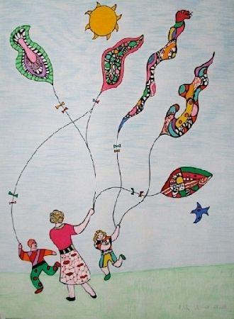 Lithograph De Saint Phalle - Méchant - Méchant - Le cerf-volant