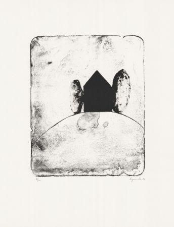 Lithograph Le Groumellec - Mégalithe et maison