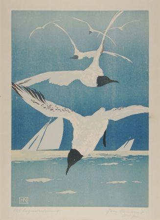 Woodcut Neumann - Möven (Seagulls)