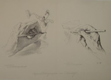 Lithograph Kreidolf - M. linke Hand mit der rechten gezeichnet, m. rechte Hand mit der linken gezeichnet.