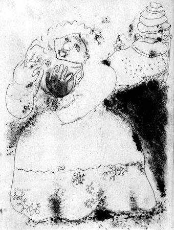 Engraving Chagall - Madame Korobotchka