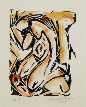 Woodcut Hirsch - Madonna