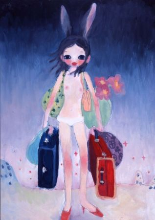 Lithograph Takano - Mail Mania Mami Standing in a Storm