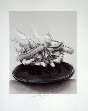 Lithograph Pignon-Ernest - Mains aux cigares