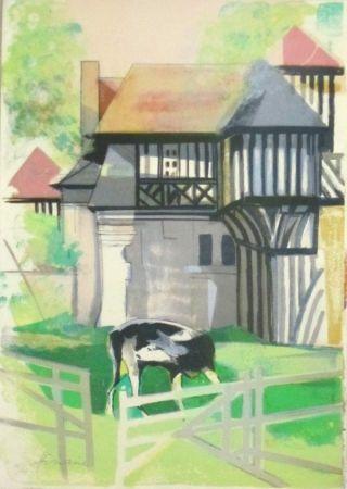 Lithograph Hilaire - Maison a colombage