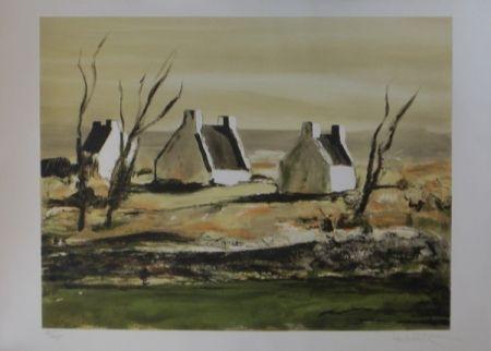 Lithograph Laporte - Maisons en bretagne