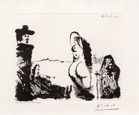 Aquatint Picasso - Maja et Celestine